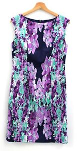 Ladies ADRIANNA PAPELL Purple Teal 100% Polyester Floral Dress UK Size 12 - D21