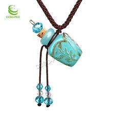 Lampwork Glass Bottle Pendant Necklace Perfume Essential Oil Diffuser Handmade