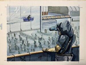 Original Card art painting, Surveillance, Battlelords 1995 Jeff A. Menges