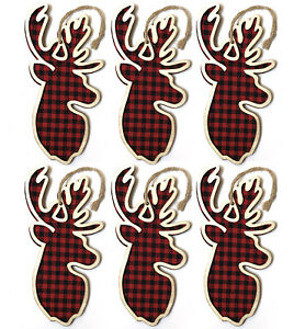 6 Wooden Deer Head Red Buffalo Plaid Christmas Ornament Country Cabin Lodge R