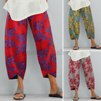 US STOCK Women Summer Elastic Waist Harem Pants Floral Printed Cropped Trousers
