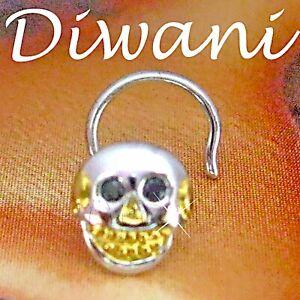Diwani Real Black Diamonds SKULL 14k Gold Nose Ring Pin Stud Piercing