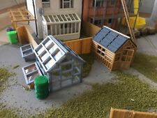 OO Scale Gauge Glazed  Garden Apex Shed + Greenhouse