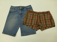 2 Justice Gap Girls Size 12 Long Denim Bermuda & Plaid Shorts Lot Good Condition