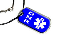 DNR Do Not Resuscitate - Military Dog Tag Black Satin Cord Necklace