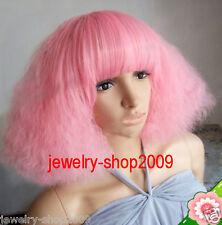 New Cosplay Lady Gaga luffy Heat Resistant Pink Short Wig