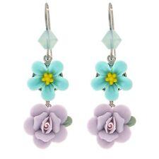 Tarina Tarantino Heritage Flower Earrings Aqua & Lavender *Made in California*