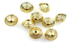 16 GOLD PLATED SPIRAL BICONE BEADS 9MM