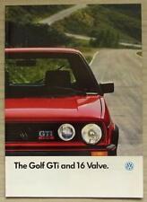 VOLKSWAGEN VW GOLF GTi & 16 VALVE Car Sales Brochure Aug 1986 #620/1190.24.25
