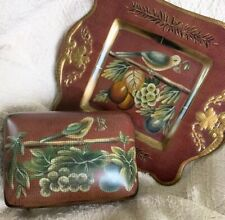 Vintage Raymond Waites ceramic plate covered box burgundy Bird fruit Living Room