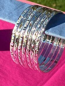 Cut Silver Layered Semanario 7 Bangles Bracelets Plata Laminada Banada 3.5mm