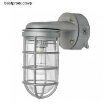Outdoor Porch Light Fixture Sconce Wall Industrial Metal Nautical Exterior Caged