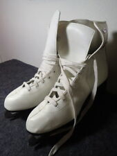 Slm Canada Womens Ice Skates Size 10 White Leather & Slim Tapered Steel Blades