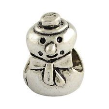 20 pieces Silver Tone Snowman European Charms