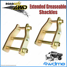 """Pair Rear 2"""" 50mm Toyota Hilux IFS LN167 88-05 4WD Roadsafe Extended Shackles"""