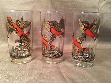 "3 Bird Glasses Hunting Hazel Atlas Pheasant Grouse Geese 10 oz 5"" tall VTG"