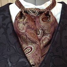 Mans Tie Cravat Ascot Puff Tie Old West Brown Gold Paisley Silk Blend Cas Sass