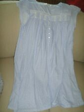 Eileen West White w/ Periwinkle Blue Floral Paisley Cotton Knit Gown L New
