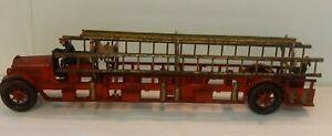"""1920's Kenton Cast Iron 22"""" Hook & Ladder Truck w/Driver Rider Fireman Hose Reel"""