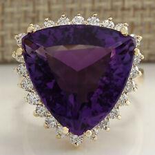 14.31 Carat Natural Amethyst 14K Yellow Gold Diamond Ring