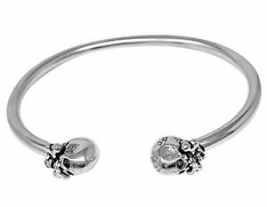925 Sterling Silver Torque Bangle with Skull Ends