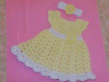 Handmade Crochet baby girl Yellow Dress, & Headband ,  by Rocky Mountain Marty