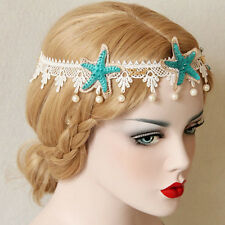 Women Lace Starfish Headband Punk Gothic Pearl Princess Queen Crown Halloween