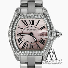 Diamond Cartier Roadster Pink Dial Stainless Steel Bracelet with Box & Papers