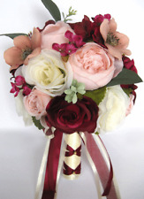 17 piece Wedding Bouquet package Bridal Silk Flowers PINK BLUSH BURGUNDY MAUVE