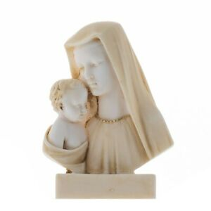 Virgin Mary Mother of Jesus Madonna Holding Baby Statue Alabaster Bust Gold Tone