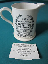 """KING EDWARD VII MEMORIAL ANTIQUE JUG """"THE PEACEAKER"""" ASCENDED IN 1901"""
