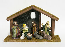 9 PIECE NATIVITY SET w/ STABLE CHRISTMAS DECORATION