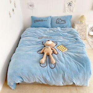 Cute Removable Toy Bear Velvet Flannel Fleece Bedding Set  Cover Set Bed Sheet