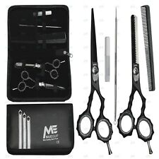"""Hairdressing 5.5"""" Scissors Barber Salon Thinning SET KIT Shears MATT BLACK New"""