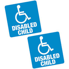 "2 x enfant handicapé blue badge 4"" 100mm sq. vinyle autocollant voiture van home motability"