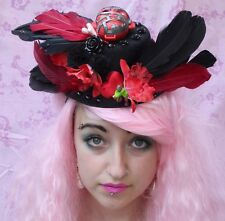 ZOMBIE HEART FEATHER POM POM FLORAL HORROR HALLOWEEN ONE-OFF GOTH MINI TOP HAT
