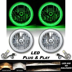 "7"" Green SMD LED Halo Angel Eye Crystal Clear H4 Headlight & 6500k LED Bulb Pair"