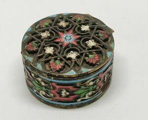 Antique Victorian Art Nouveau Enamels Brass Snuff Pill Mini Small Box Boite old