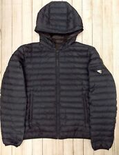 PRADA MENS DOWN QUILTED HOODED JACKET>GENUINE>£750+>XL>COAT>PADDED>BOMBER>BLUE