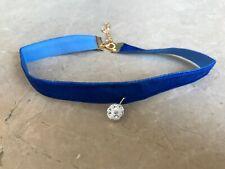 Blue Choker Necklace Pendant Blue Velvet Fabric Fashion Jewelry Girl Choker