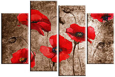 LARGE RED & BROWN POPPIES PAINTING CANVAS ARTWORK SPLIT MULTI WALL ART 100cm