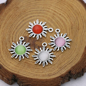 10Pcs Silver Sun Opal Charm Pendant Jewelry Making Necklace DIY Accessories