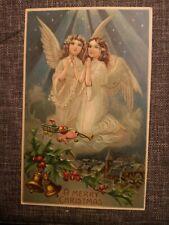 ORIGINAL VINTAGE 1907 POSTCARD USA CHRISTMAS ANGELS COLOR FRANKED