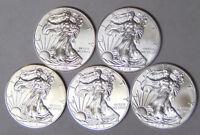 Lot of 5 BU American Silver Eagles 2013 2014 2015 2016 2017 .999 Silver Dollars