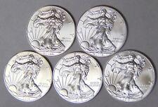 Set of 5 BU American Silver Eagles 2013 2014 2015 2016 2017 Silver Dollars