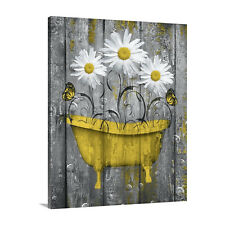 Yellow Bathroom Farmhouse Daisy Flowers Rustic Canvas Bathroom Bedroom Wall Art