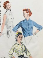 Vintage 1950's STYLISH OVERBLOUSE SEWING PATTERN ~ 3 STYLES ~ Bust 36""