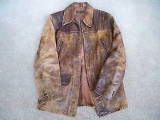 Vintage WW2 Era Leather Men's Chore Riding Jacket Distressed Horsehide Medium