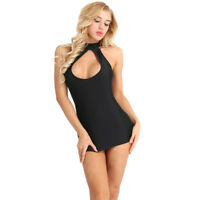 Womens Sleeveless Halter Cut Out Bodycon Mini Dress Ladies Clubwear Party Dress