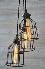 Chandelier Black Metal Bulb Guard Light Cage Pendant Hanging Industrial Retro